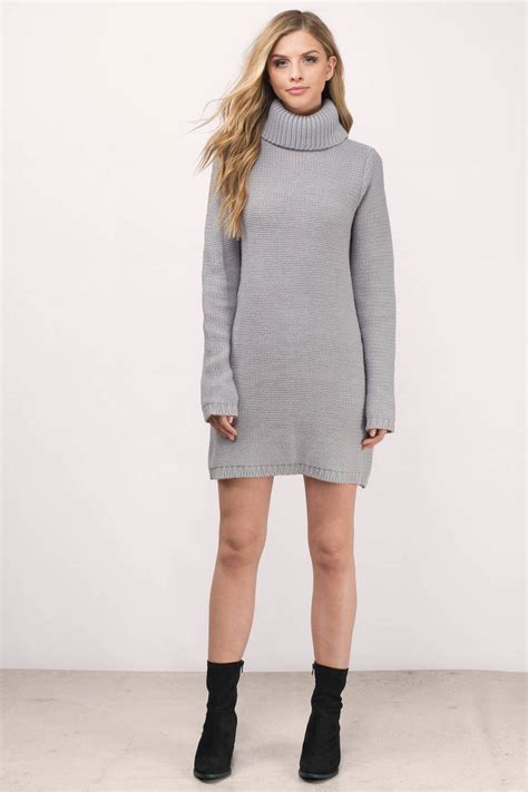 Gate Of Time Colour Sweater grey dress turtleneck dress army grey sweater