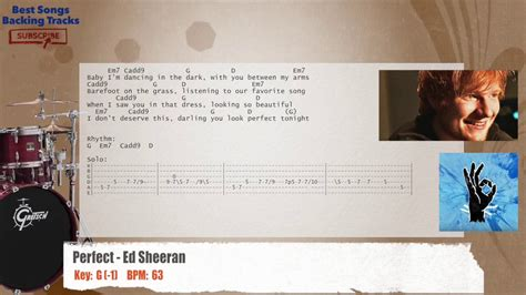 ed sheeran perfect tempo perfect ed sheeran drums backing track with chords and