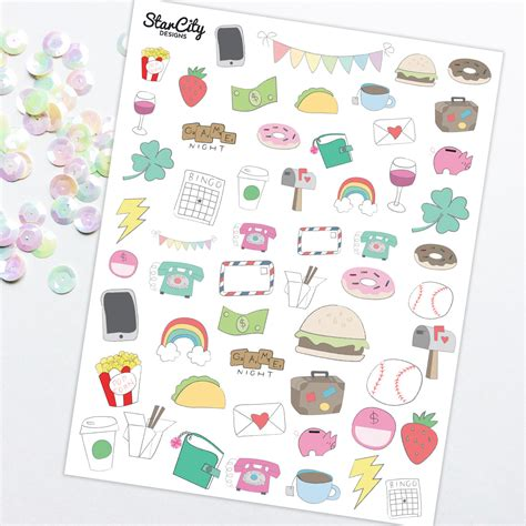printable planner doodles printable hand drawn stickers doodle planner stickers
