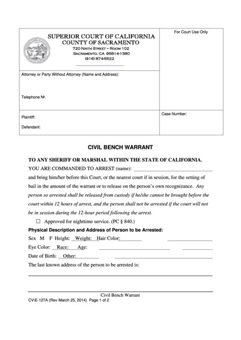 civil bench warrant california form cv e 127a civil bench warrant printable pdf download