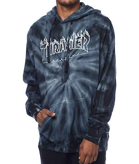 thrasher silver logo grey tie dye pullover hoodie