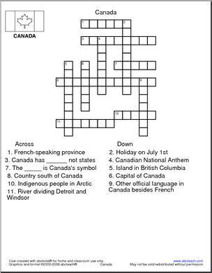 printable puzzle of canada crosswords for kids crosswords for kids pinterest