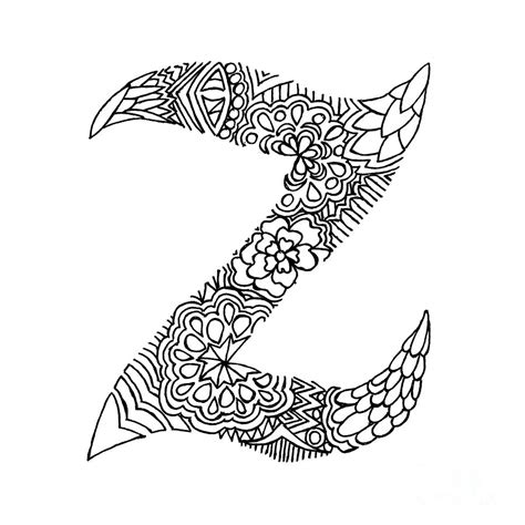 Letter Z Drawing by Patterned Letter Z Drawing By Alyssa Zeldenrust