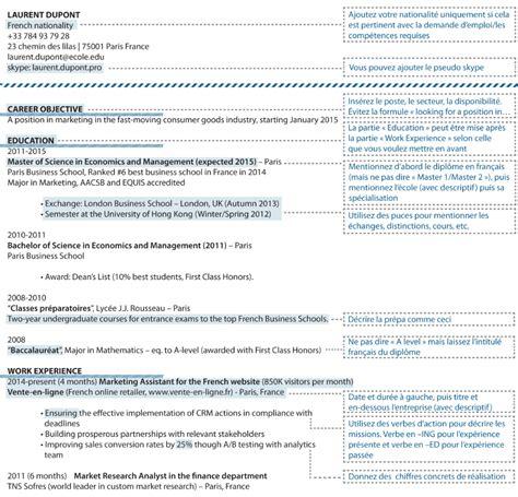 Rediger Cv by Conseils Pour R 233 Diger Votre Cv En Anglais Exemple
