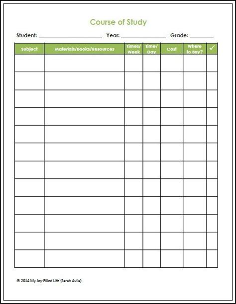 Course Of Study Template Homeschool Planning Resources Free Printables My Joy