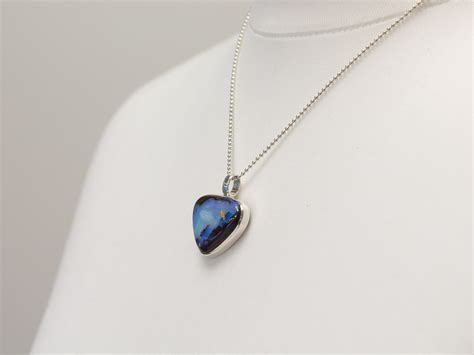 blue opal necklace opal necklace sterling silver blue boulder large