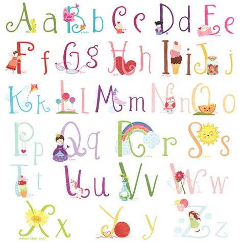 alphabet wall sticker lil cloud girly wall decal stickers alphabet for by emajane