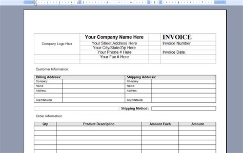 microsoft word 2003 invoice template download invoice