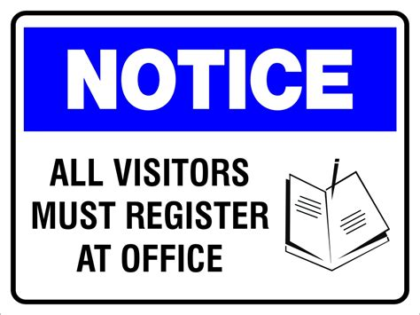 all visitors must sign in template notice all visitors must register at office 600mm x 450mm