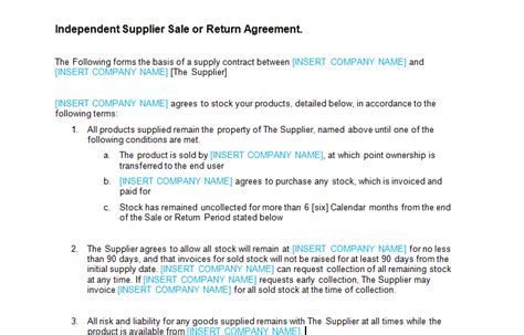 sle return policy template sale or return agreement template bizorb