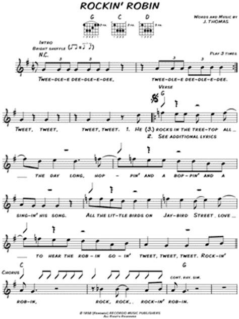 printable lyrics to rockin robin bobby day quot rockin robin quot sheet music download print