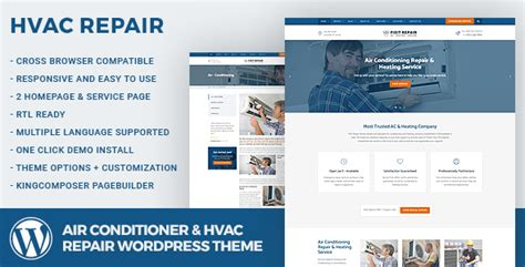 Hvac Efficiency Card Template by Air Conditioner Hvac Repair Theme By Wp