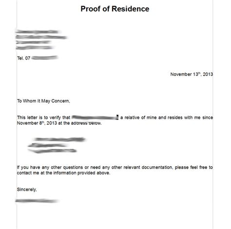 Residential Proof Letter Template search results for residency verification letter sle