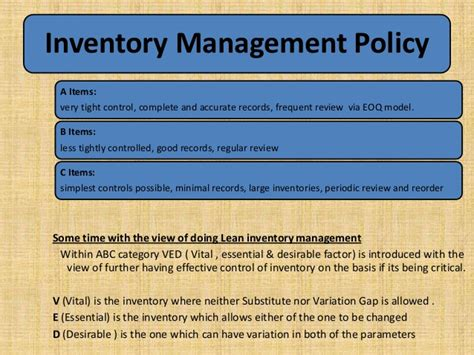 Inventory Management Inventory Policy Template