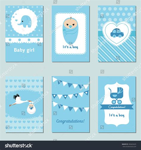 baby sts for card set beautiful baby boy card birthday stock vector