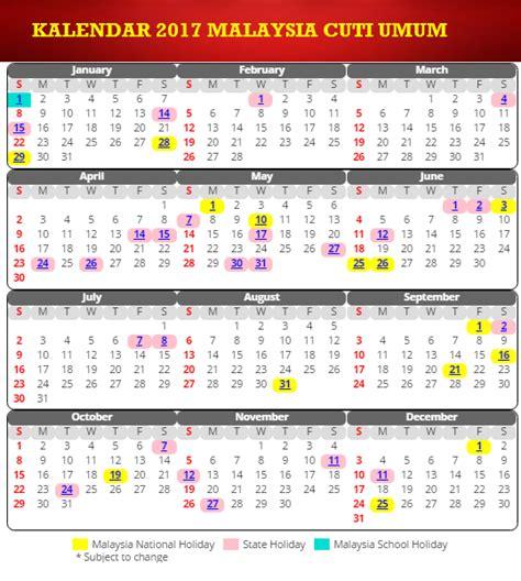 Kalendar 2018 Sarawak Kalendar 2017 Cuti Umum Dan Cuti Sekolah Malaysia