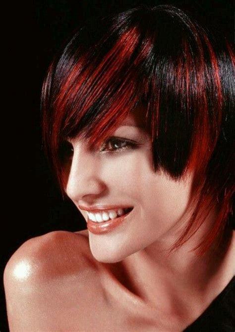 Imagenes De Tintes Con Rayos De Color Rojo | cabello negro y rayos y rojos pelo pinterest