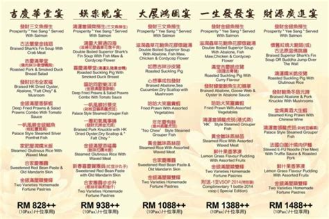 klang palace restaurant new year menu new year set menus imbi palace food malaysia