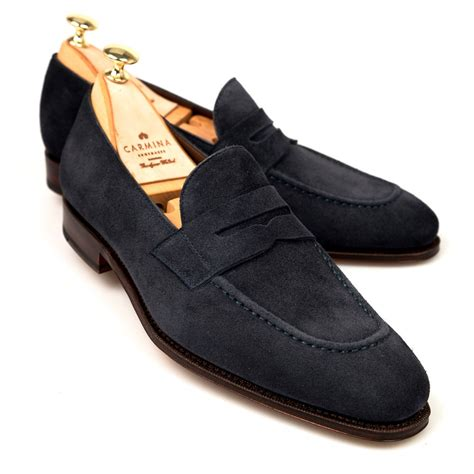 womens navy suede loafers navy suede dress loafers carmina shoemaker