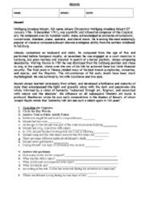 mozart biography questions mozart worksheet geersc