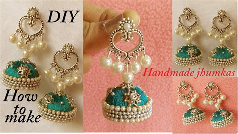 diy how to make designer silk thread jhumka earrings at