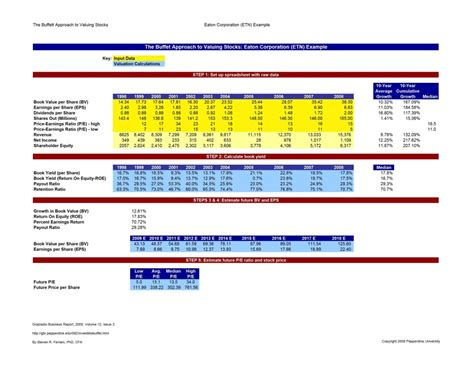 excel valuation template stock valuation calculator template