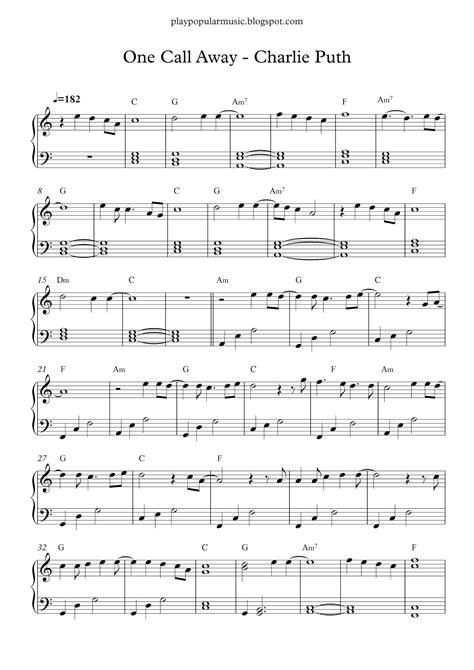 testo only one free piano sheet one call away puth pdf i