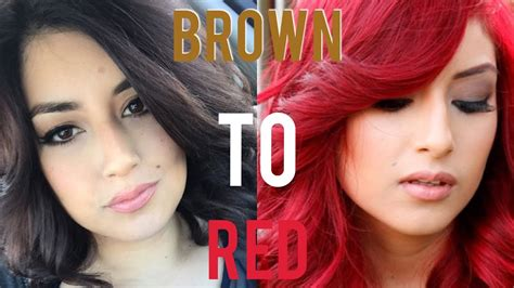 Brown To Red Hair Without Bleach Youtube   from brown hair to bright red hair without bleach youtube