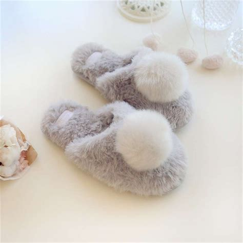 soft faux rabbit fur slippers plush