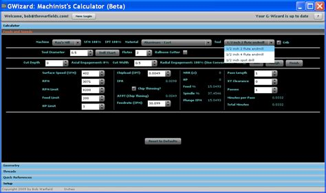 Tool Crib Meaning by Beta Test G Wizard Machinist S Calculator