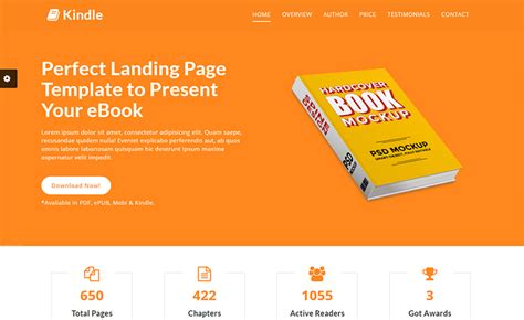 Responsive Free Html5 Ebook Landing Template With Working Contact Form Ebook Landing Page Template Free