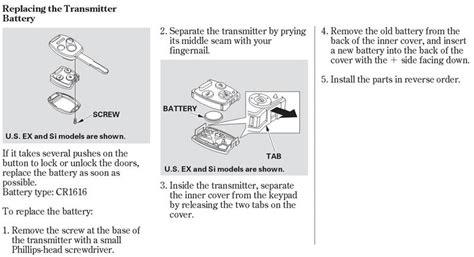 replacing keyless entry batteries honda tech honda
