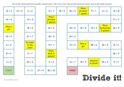 printable math division board games maths division board game by baldwj teaching resources