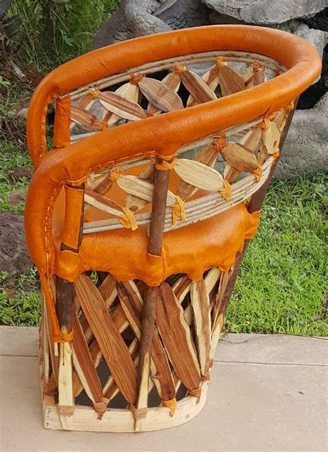 mexican equipale leather slat  chair cushioned brick
