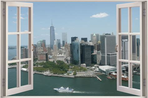 New York Wall Decal Sticker huge 3d window view new york city wall sticker film mural