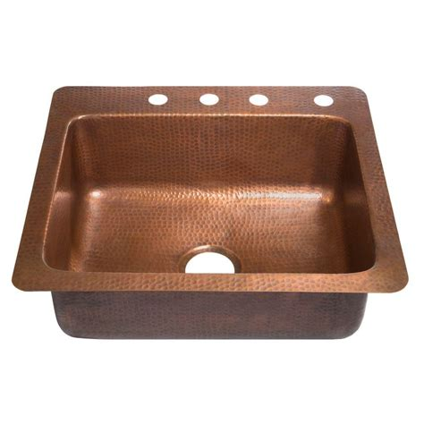 Drop In Copper Kitchen Sinks Sinkology Kahlo Drop In Handmade Solid Copper 25 In 4 Single Bowl Copper Kitchen Sink