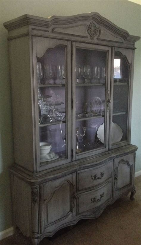 chalk paint grey cabinets painted provincial china cabinet gray and purple