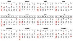 Calendario De Colombia Año 2018 Calendario De 2004