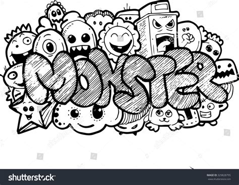 doodle names editor doodle stock photo 329828795