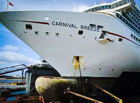 cruise ship dry dock carnival cruise ship in final stages of major dry dock