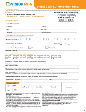 direct debit authorisation forms and templates fillable
