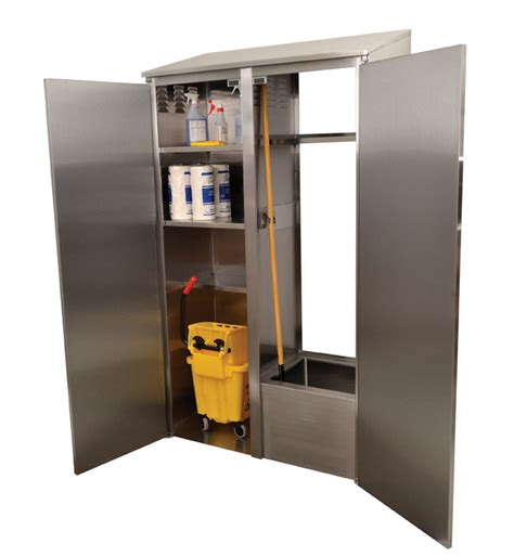Janitorial Storage Cabinet No Janitor Closet No Problem Advance Tabco Introduces Their New Wide Mop Sink Cabinet
