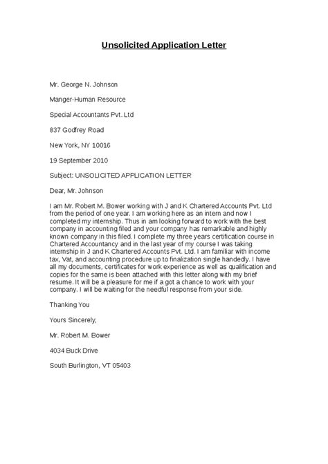 unsolicited cover letter exles unsolicited application letter to hr essay experts