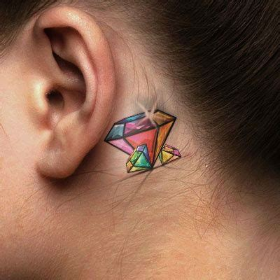 rainbow tattoo behind ear 41 cool behind the ear tattoo designs sortra