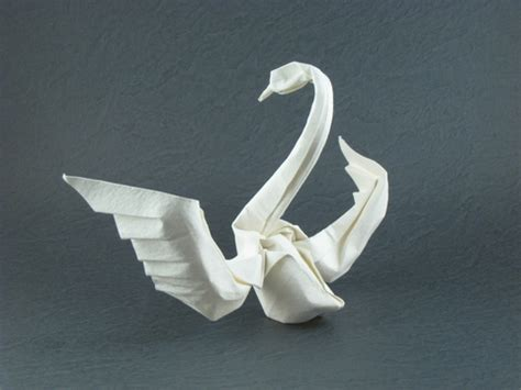 Folding Paper Swan - origami swan with wings 171 embroidery origami