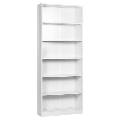 White Bookshelf 6 Shelf Bookcase White Ebay