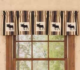 Country Cabin Curtains New Rustic Lodge Cabin Country Black Brown Striped Moose Valance Window Curtain Ebay