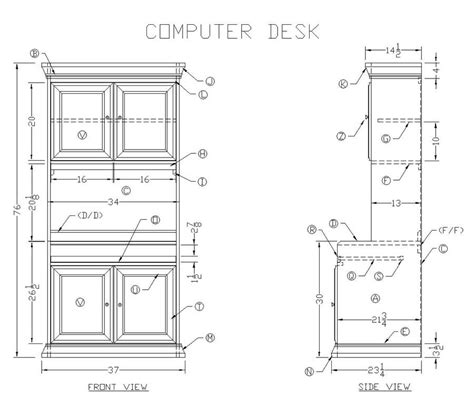 Computer Desk Blueprint Wood Computer Desk Plans Pdf Woodworking