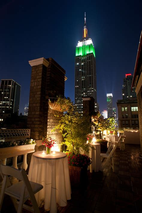 wedding reception halls new york view of the empire state building from the midtown loft terrace venue in nyc midown loft