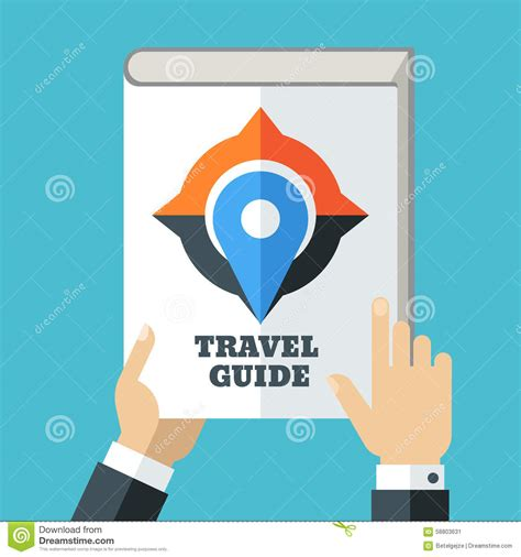 the illustrators guide to mens hand holding travel guide creative flat illustration of wh stock vector image 58803631
